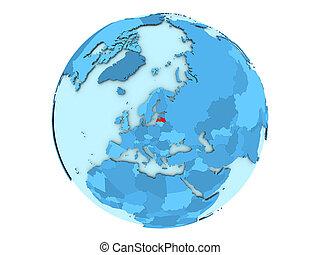 Latvia on blue globe isolated