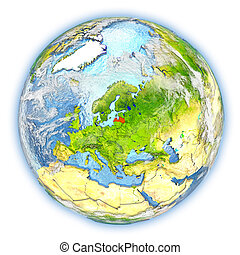 Latvia on Earth isolated - Latvia highlighted in red on...