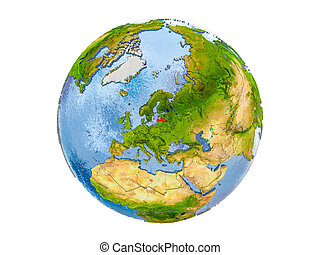 Latvia on globe isolated