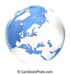 Latvia on globe isolated on white