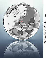 Latvia on globe