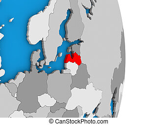 Latvia on globe - Map of Latvia in red on globe. 3D...