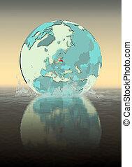 Latvia on globe splashing in water