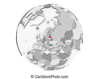 Latvia on grey globe isolated