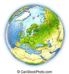 Latvia on isolated globe