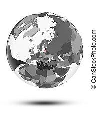 Latvia on political globe isolated
