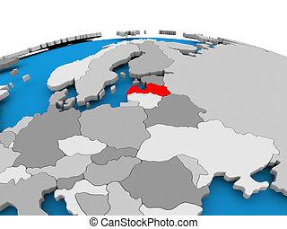 Latvia on political globe