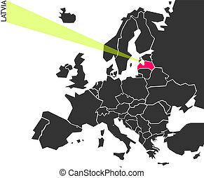 Latvia - political map of Europe