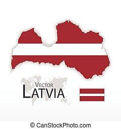 Latvia ( Republic of Latvia ) ( flag and map )
