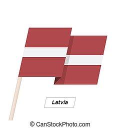 Latvia Ribbon Waving Flag Isolated on White. Vector...