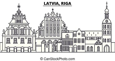 Latvia, Riga line skyline vector illustration. Latvia, Riga linear cityscape with famous landmarks, city sights, vector landscape.