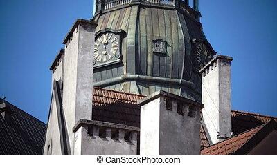 Latvia, Riga Saint Peter's Church in sunny summer day.