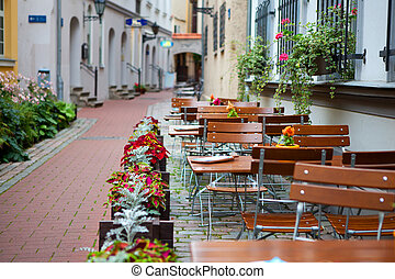 Latvia, Riga, street cafe - Latvia, the old town of Riga, a...