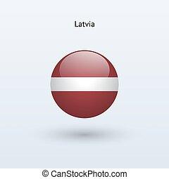 Latvia round flag. Vector illustration.