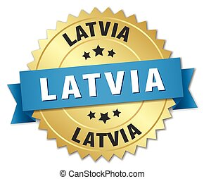 Latvia round golden badge with blue ribbon