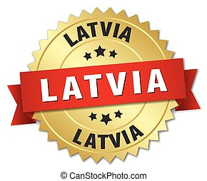 Latvia round golden badge with red ribbon