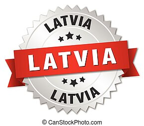 Latvia  round silver badge with red ribbon