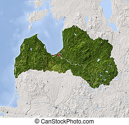 Latvia, shaded relief map - Latvia. Shaded relief map....