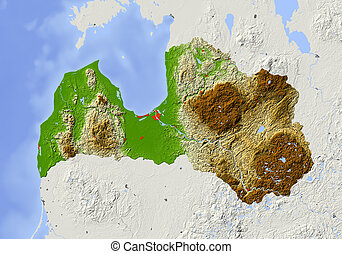 Latvia, shaded relief map - Latvia Shaded relief map with...