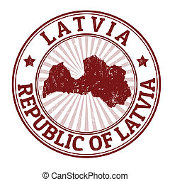 Latvia stamp - Grunge rubber stamp with the name and map of...