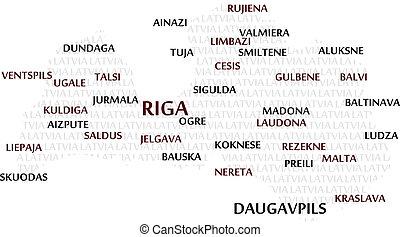 Latvia Word Cloud Map