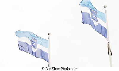 Latvian flag and emblem of Jurmala - Over white background...