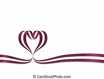 Latvian flag heart-shaped ribbon. Vector illustration. - ...