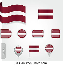 Latvian flag icon - Latvian icon set of flags EPS 10