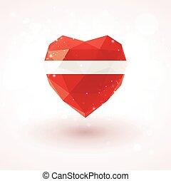 Latvian flag in shape diamond glass heart. Triangulation style