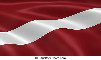 Latvian flag in the wind.