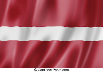 Latvian flag - Latvia flag, three dimensional render, satin ...
