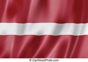 Latvia flag, three dimensional render, satin texture