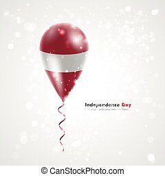 Latvian flag on balloon. Celebration and gifts. Ribbon in ...