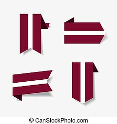 Latvian flag stickers and labels. Vector illustration. - ...