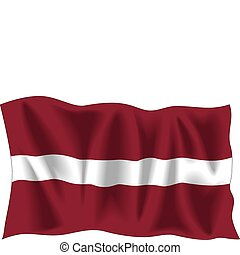 Latvian flag - Waving flag of Latvia isolated on white