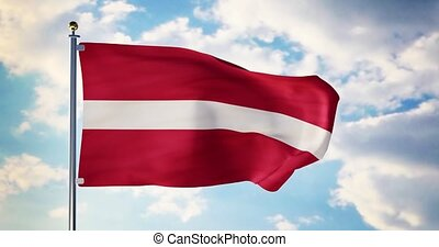 Latvian flag waving in the wind shows latvia symbol of...