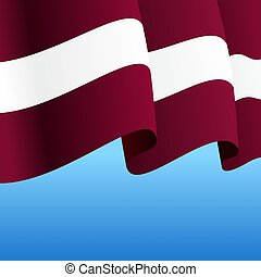 Latvian flag wavy abstract background. Vector illustration...