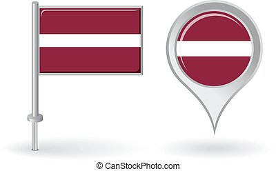 Latvian pin icon and map pointer flag. Vector illustration.