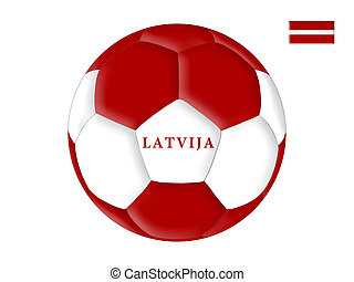 Latvian soccer - Soccer ball in colors of the flag of Latvia...