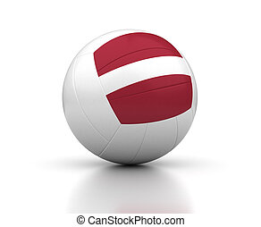 Latvian Volleyball Team (isolated with clipping path)