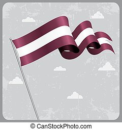 Latvian wavy flag. Vector illustration. - Latvian flag wavy ...