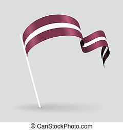 Latvian wavy flag. Vector illustration. - Latvian pin icon ...