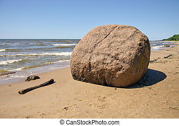 Laucu akmens stone in Latvia Baltic sea resorts