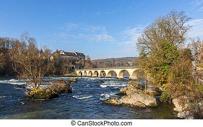 Laufen Castle and railway viaduc at Rhine Falls - Switzerland