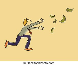 laufen, geld, abbildung, vektor, folgen, mann