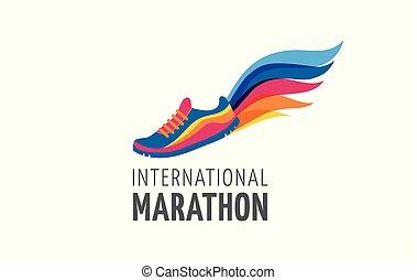 laufen, plakat, symbol, ikone, logo, marathon