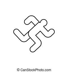 laufen, zeichen., symbol., rennender , vektor, ikone, mann