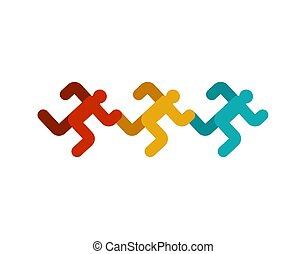laufen, zeichen., symbol., rennender , vektor, sprint, ikone, mann