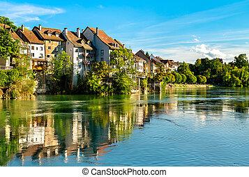 Laufenburg at the Rhine River in Switzerland