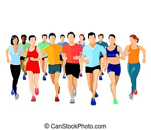 group of runners, illustration